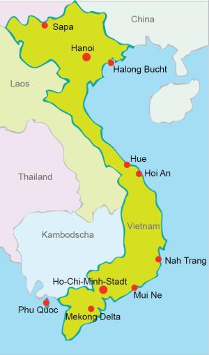 map vietnam2 - Vietnam Reisen