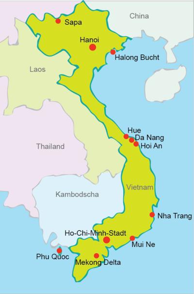 Kambodscha Karte.Vietnam Karte Und Sehenswurdigkeiten