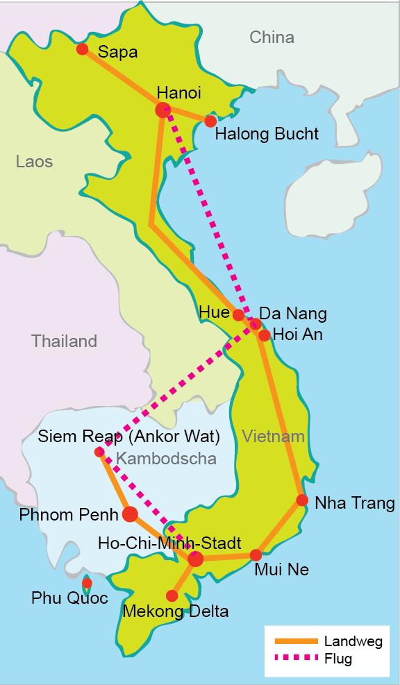 Vietnam Rundreise 3 Wochen mit Kambodscha